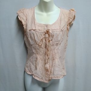 Twenty One Pink Short Sleeve Button Up Blouse S/P